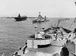 USS Wyoming (AG-17) and USS Lexington (CV-16) in port on 13 May 1943.jpg