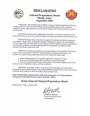 English: National Preparedness Month Proclamation