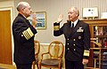 US Navy 021007-N-2383B-514 Rear Adm. Gerry L. Hoewing (right), Chief of Naval Personnel, is promoted to Vice Admiral by Adm. Vern Clark, Chief of Naval Operations.jpg