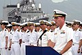 US Navy 030507-N-3228G-001 Commanding Officer of the guided missile destroyer USS Russell (DDG 59) Cmdr. William Kearns III, speaks to spectators during a welcoming ceremony for Japanese Maritime Self-Defense Force.jpg