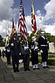 US Navy 030526-F-4350W-019 The Joint Analysis Center Color Guard posts the United States and United Kingdom flags, along with the flags of each U.S. military branch, as part of a Memorial Day service.jpg