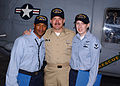 US Navy 050114-N-7535G-023 Boatswain's Mate 3rd Class Quinton Scott, Master Chief Petty Officer of the Navy Terry Scott and Photographer's Mate 3rd Class Amanda Scott.jpg