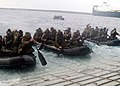 US Navy 060202-N-4124C-005 Marines assigned to the Thirty-first Marine Expeditionary Unit (MEU) prepare to launch a Combat Rubber Raiding Crafts (CRRC) from the amphibious transport dock USS Juneau (LPD 10).jpg