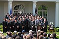 US Navy 060424-N-9909C-018 President George W. Bush speaks to guests during the official presentation of the Commander In Chief Trophy to the U.S Naval Academy football team at the White House Rose Garden.jpg