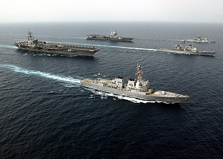 French aircraft carrier Charles de Gaulle (rear), and U.S. Navy carrier USS Ronald Reagan, conducting joint operations in the Persian Gulf, both of which have the CATOBAR configuration. US Navy 060427-N-5961C-009 USS Ronald Reagan (CVN 76),FS Charles De Gaulle (R-92),FS Cassard (D-614), guided missile cruiser USS Vicksburg (CG 69), USS McCampbell (DDG 85) conduct joint operations in the Persian Gulf.jpg