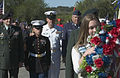 US Navy 061111-N-3750S-015 USS San Antonio (LPD 17) Command Master Chief Tom Meglen participates in a wreath laying ceremony with representatives all branches of the military services during the Veterans Day ceremony at Fort Sa.jpg