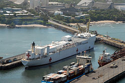 US Navy 070730-N-8704K-053 Hospital ship USNS Comfort (T-AH 20) is moored in Acajutla, El Salvador, during a scheduled port visit.jpg
