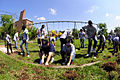 US Navy 080808-N-1831S-030 Sailors assigned to the Pre-commissioning unit (PCU) guided-missile destroyer PCU Sterett (DDG 104), dig up the ground at Indiana Road Park.jpg