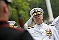 US Navy 090604-N-8273J-132 Chief of Naval Operations (CNO) Adm. Gary Roughead salutes members of the Navy and Marine Corps ceremonial guard during the Battle of Midway Commemoration Ceremony at the Navy Memorial in Washington.jpg