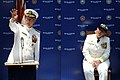 US Navy 090626-N-5328N-255 Capt. Connie Frizzell, right, listens to remarks by Rear Adm. Gary Jones, commander, Naval Education and Training Command, during the Center for Information Dominance (CID) Corry Station change of com.jpg