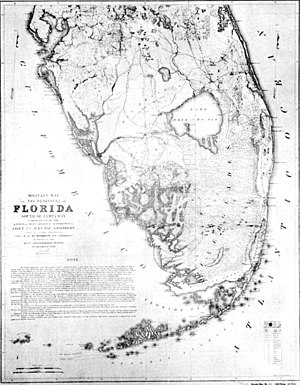 Draining and development of the Everglades - Map of the Everglades by the U.S. War Department in 1856: Military action during the Seminole Wars improved understanding of the features of the Everglades.