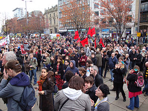 Unite Against Fascism - UAF demonstration in Leeds, 31 October 2009.