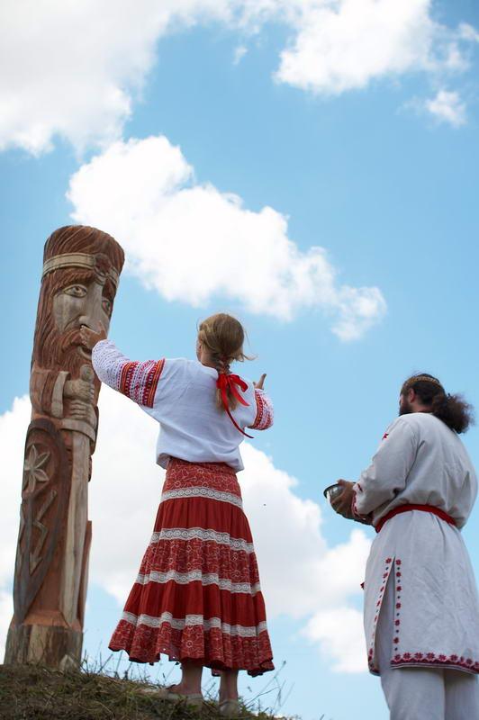 Ukrainian Rodnovers worshipping Perun in Ternopil Oblast, Ukraine