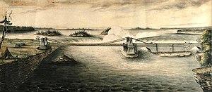 Frederick Preston Rubidge - Image: Union Suspension Bridge Ottawa River 1843