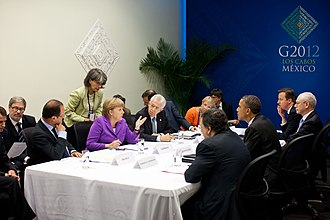 Emmanuel Macron - Macron (sitting far left) and French President François Hollande at the G20 summit in Mexico, 19 June 2012