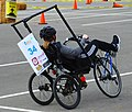 University of Wisconsin-Milwaukee narrow-track, tilting, recumbent trike at ASME HPVC North 2019.jpg