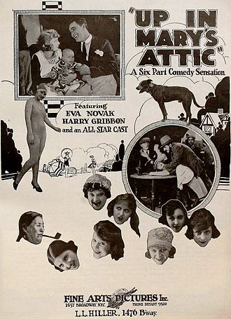 Harry Gribbon - Advert for Up in Mary's Attic (1920) with Gribbon in upper left still
