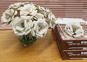 Upcycling - Roses made from upcycled library books.