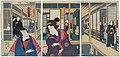 Utagawa Kunisada II - Actors Sawamura Tanosuke III as Shinjuku Toyokura no kakoi Oyoshi and Nakamura Shikan IV as the Rônin Isokawa Tôjûrô; with Nakamura Shikan IV as the Palanquin Bearer Senda.jpg