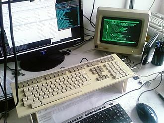 VT220 - DEC VT220 connected to the serial port of a modern computer.