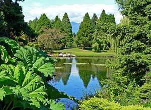 VanDusen Botanical Garden - View across one of the ponds, to the mountains north of Vancouver