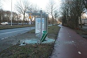 Vandalism - Fireworks vandalism of a bus stop in Rotterdam
