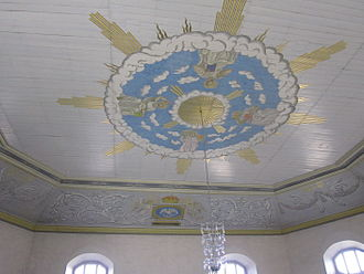 Octagonal churches in Norway - The wide, decorated ceiling of Vang Church, no supporting columns
