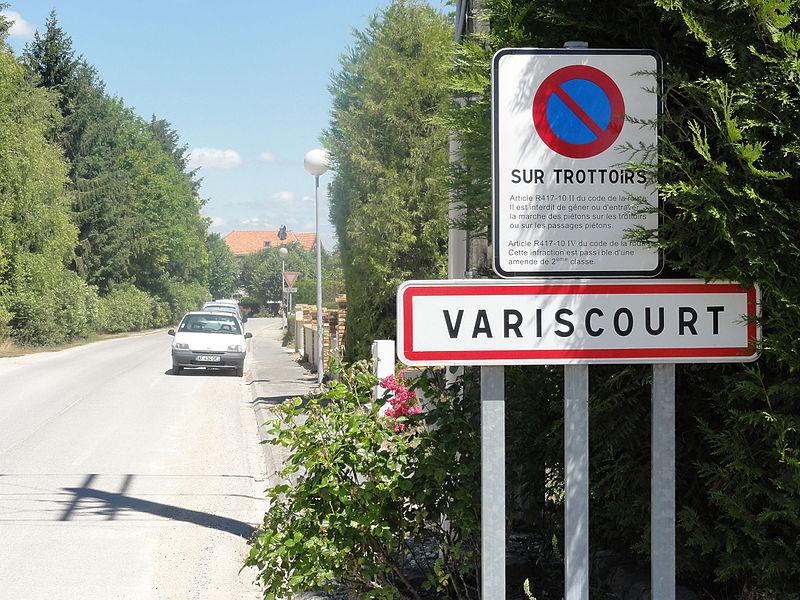 Variscourt (Aisne) city limit sign