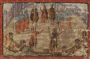 Vergilius Vaticanus - Folio 73v, a Trojan council