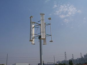English: The H type vertical axis wind turbine...
