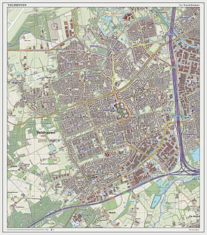 Veldhoven - Dutch topographic map of Veldhoven (town), as of March 2014