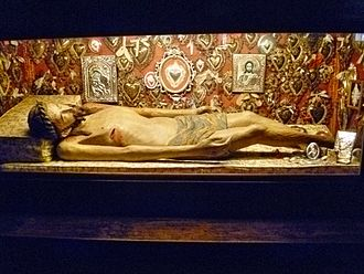 Burial of Jesus - Wooden sculpture of Christ in His tomb by anonymous