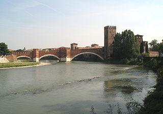 Castelvecchio Bridge Fortified bridge over the Adige River in Verona, Italy