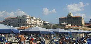 Viareggio - The Hotels Excelsior (right) and Principe di Piemonte (left).