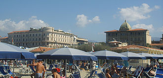 Viareggio - The Hotels Excelsior (right) and Principe di Piemonte (left).