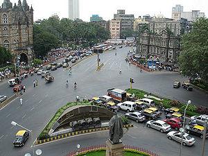 Public transport in Mumbai - A traffic intersection in Mumbai.