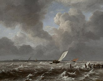 Rough Sea at a Jetty - Image: View of the Ij on a Stormy Day, circa 1660, by Jacob van Ruisdael (circa 1628 1682) IMG 7384