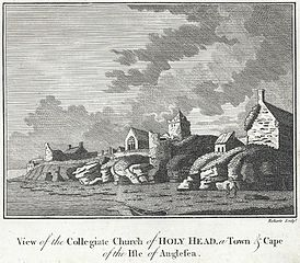 View of the collegiate church of Holy Head, a town and cape of the Isle on Anglesey