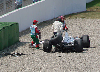 2006 German Grand Prix - Jacques Villeneuve walks away from his crashed F1.06 in his final F1 race.