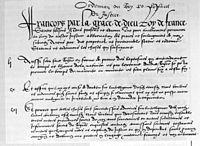 Copia del preámbulo y de artículos de la Ordenanza de Villers-Cotterêts, puesta en vigor en Francia desde 1539.