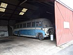 Vintage coach at Owen's Motors Ltd, Knighton, Powys,