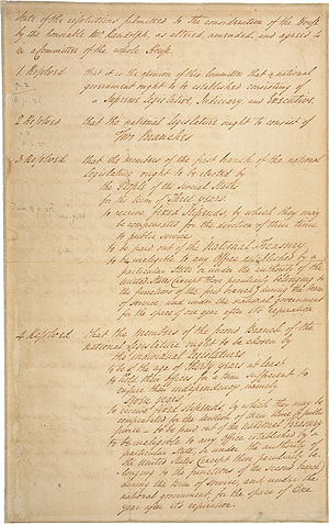 Constitutional Convention (United States) - Front side of the Virginia Plan