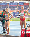 Volha Sudarava and Lynique Prinsloo (2013 World Championships in Athletics) 03.jpg