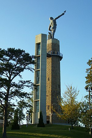 Vulcan statue - Vulcan on its restored pedestal with new elevator tower
