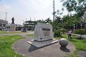 Paco, Manila - Plaza Dilao marker on the foreground, and Takayama's statue on the background.