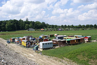 Construction trailer - Wagenburg with several construction trailers in Switzerland