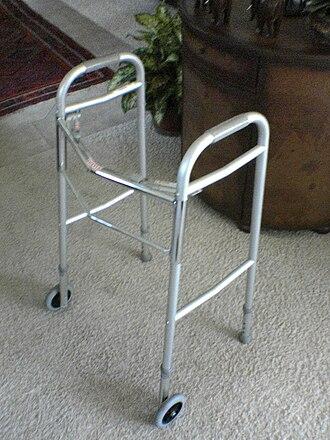 Walker (mobility) - Front-wheeled walker.