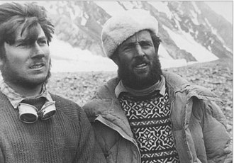 Walter Bonatti (left) and Erich Abram at base camp during the K2 expedition 1954 Walter Bonatti Eric Abram K2 1954.jpg