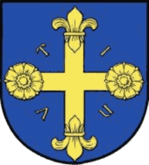 "Utin (castle) - Coat of arms of Eutin with the letters ""VTIN"""