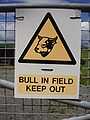 Warning sign - bull in field - keep out.JPG